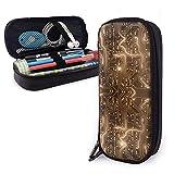 Bolso de cuero marrón de la caja de lápiz de la PU, papelería de alta capacidad Bolso de la pluma Bolso de maquillaje Tablero de circuito azul abstracto Resplandor Luz dorada