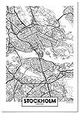 Panorama Poster Karte von Stockholm 70 x 100 cm - Gedruckt