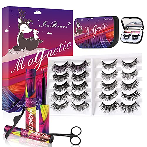 InBrave 2021 Upgraded Magnetic Lashes with Eyeliner Kit, 10ml/5ml High Capacity Magnetic Eyeliner & Portable Lashes Pack, 3D 5D Reusable Magnetic Eyelashes Natural Look, False Lashes 12 Pairs with applicator