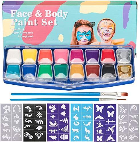 HENMI pintura facial, 14 colores, 2 brillos, 2 pinceles, kit de pintura corporal, seguridad no tóxica para el maquillaje infantil, Cosplay / Navidad / Helloween / Partes