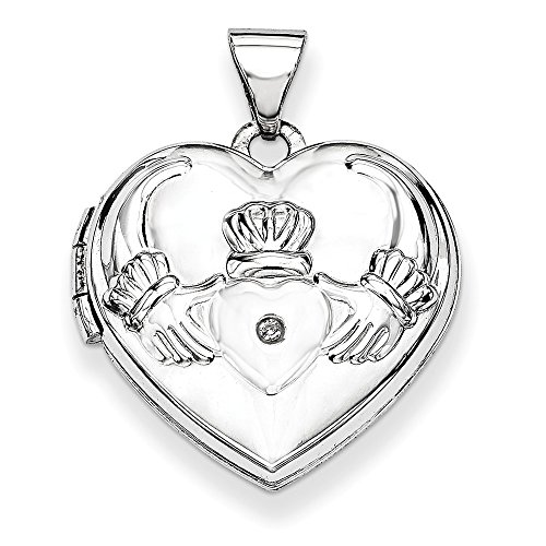 14k White Gold Diamond Heart Irish Claddagh Celtic Knot Photo Pendant Charm Locket Chain Necklace That Holds Pictures Fine Jewelry For Women Gifts For Her