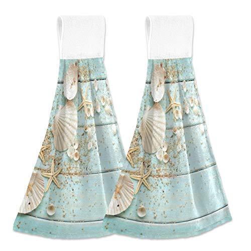 Summer Starfish Seashells Hand Towel 2ps Blue Board Vintage Hanging Tie Towels Loop for Kitchen Bathroom Absorbent Dish Towel Washcloth