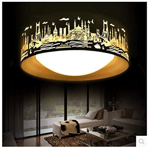 Lámpara De Techo Regulable Del Dormitorio,Plafón Led De Techo Con Mando A Distancia Salon,Iluminación Acrílica Redonda De Bajo Consumo Luz Blanca Negra 42Cm
