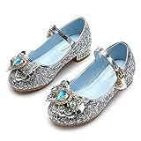 YOSICIL Zapatos de Princesa Elsa Niña Cómodo Zapatos de Lentejuelas de Tacón Alto Disfraz para Halloween Navidad Fiesta de Cumpleaños Carnaval Cosplay