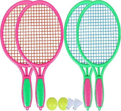 Biluer 2 Paia Racchetta Bambini Racchetta da Tennis Racchettoni da Spiaggia Racchetta da Badminton per Bambini Set per Ragazzi e Ragazze Gioco di Sport All'aperto(Rosa Rossa,Verde)