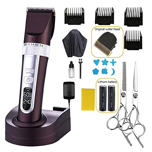 Cordless Baard tondeuse, Professional LCD Display tondeuse, r-Blade Charging Stand haar knippen Clipper Stoppels Trimmer Black 18x4.5cm (7.1x1.8inch) HAOSHUAI
