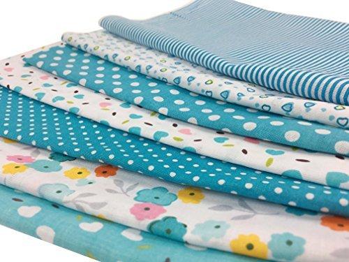 7Pcs Baumwollstoff Patchwork Stoffe YXJDWEI DIY Gewebe Quadrate Baumwolltuch Stoffpaket zum Nähen mit vielfältiges Muster 50x50cm Hellblau