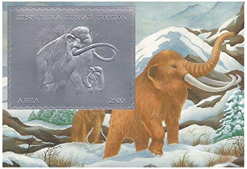 Feuille d'Argent Animaux préhistoriques Woolly Mammoth MNH feuille de timbres / Abkhazie / 1994