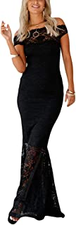 Womens Sexy Off Shoulder Bardot Lace Evening Gown Fishtail Maxi Dress