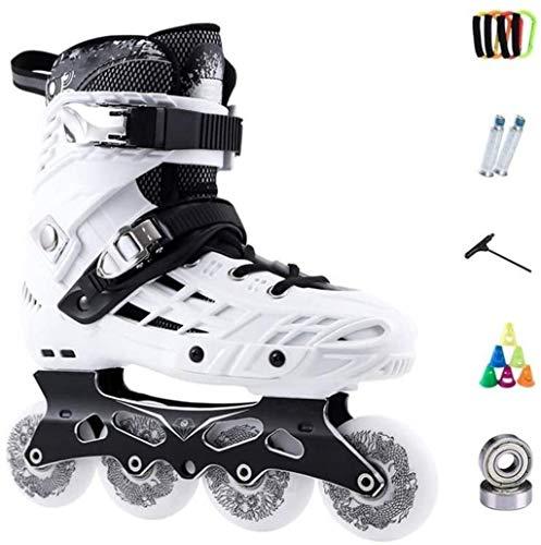 THMY Inline-Skates Erwachsene Einreihige Rollschuhe für Männer und Frauen Eisschnelllaufschuhe Anfänger Professionelle Quad-Skates Indoor Outdoor, Weiß, 37 EU / 5 US / 4 UK / 23,5 cm JP