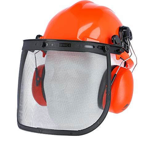 eXtreme Forstschutz Helmkombination Waldarbeiter Helm Netzvisier Gehörschutz Gesichtsschutz SNR-22dB