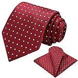 Vinlari Corbata Hombre Pañuelo Corbata Boda Conjunto Seda Pañuelo Negocio Lunares Elegante Estilo Casual Corbata Rojo