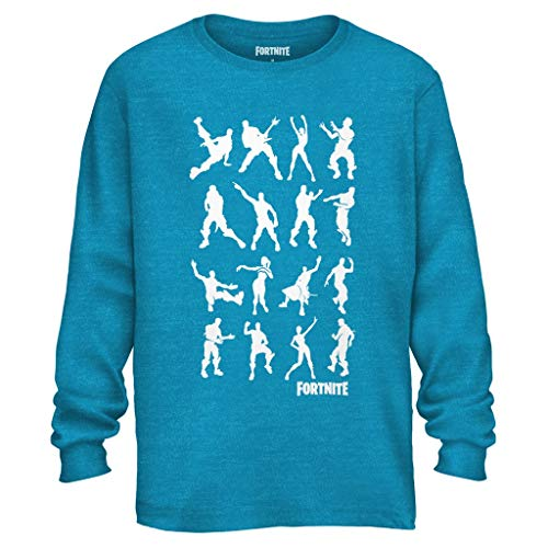 Mad Engine Officially Licensed Fortnite Shirt Men's Emote Dance Long Sleeve Adult T-Shirt (Large) Turquoise Heather