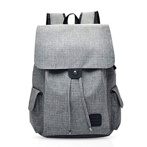 FANDARE Casual Rucksäcke Schulranzen Mädchen/Jungen Teenager Schultasche Student Schulrucksack mit USB Reise Tagesrucksack 15.6 Zoll Laptop Daypack Leinwand Grau