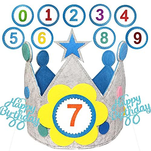 BOYATONG Corona di compleanno XL per bambini, per compleanno, per bambini, in tessuto, con numeri intercambiabili da 0 a 9