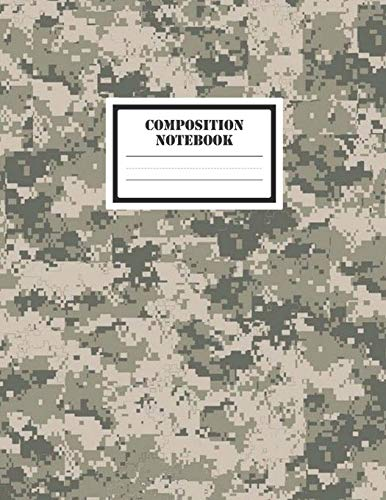 """Composition Notebook: A Cool Modern Military Desert Digital Camo Camouflage Lovers Practice Writing Journal, A Blank 8.5x11"""" Full Page Composition ... A-Z & 1-10 With 120 Practice Pages For School"""
