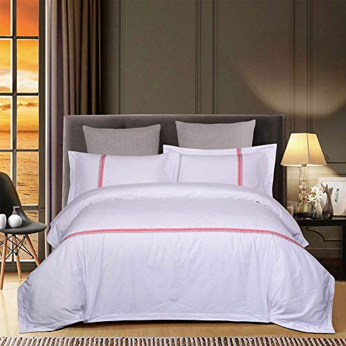 ZHAONI Hotel Juego De Cama De 260X240cm Incluye Funda Nórdica Blanca 100% Algodón (4 Piezas, Blanco),C,60X40Satin