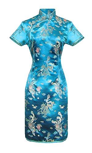Laciteinterdite Kurzes Chinesisches Kleid türkis Qipao ärmelkurz Drachenmotiv 46