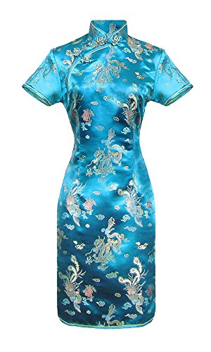 Vestido chino corta turquesa cheongsam mangas cortas Qipao motivo dragón tamaño 46