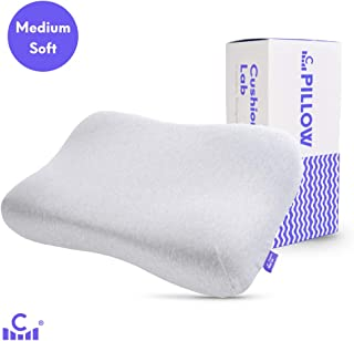 Cushion Lab Extra Comfort Gel Infused Memory Foam Ergonomic Contour Pillow - Gently Cradle Your Head & Neck in Soft Feel Comfort, Orthopedic Design Cervical Pillow for All Sleepers, CertiPUR US