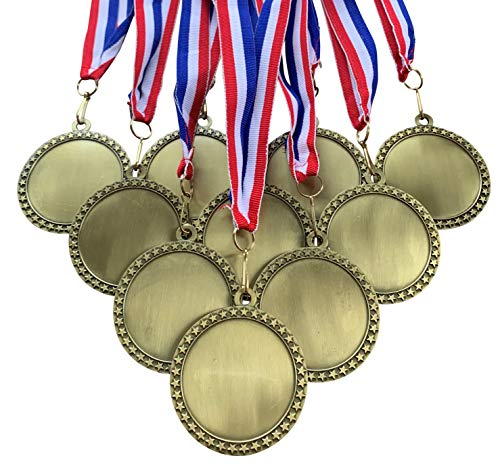10 Pack of 2-1/2 inch Diameter Die-Cast Metal Antique Gold Blank Insert Star Medals and Red White and Blue Neck Ribbons.