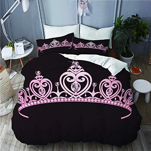 LISNIANY Duvet Cover,Prinzessin Pale Pink Crown mit Diamant stellt Machthaber des königlichen Familien Kostüm Bildes der Nation DAR,Mikrofaser Bettbezug 240 * 260cm 2 Kissenbezug 50 * 80cm