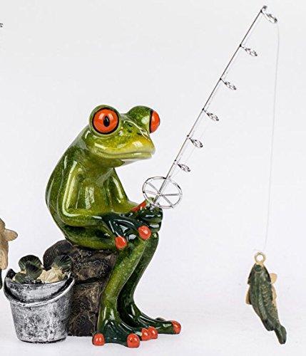 dekojohnson Fun Frog Fishing Ornament - Light Green Sitting 15cm