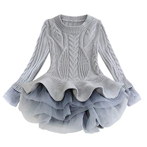 LXXIASHI Toddler Baby Girl Knitted Long Sleeve Mesh Ruffles Tutu Sweaters Dresses Winter Autumn Casual Clothes (Tutu Mesh - Gray, 4-5 Years)