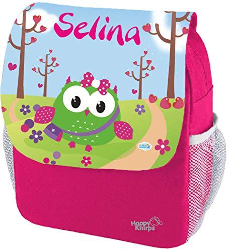 Mein Zwergenland Kindergartenrucksack Happy Knirps Next Print mit Name Eule, 6L, Pink