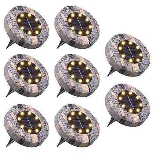 Solar Bodenleuchten, Tomshine Solarleuchten für Außen 8 LED 100LM IP65 Wasserdicht Solarlampe Garten für Auffahrt Gehweg Hof 【8 Stück Warmweiß】