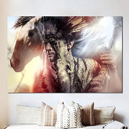 QWESFX Pferd Native Indian Gefiederte Leinwand Malerei Handgemalte Ölgemälde auf Leinwand Wolf Gemälde auf Leinwand Kunstdrucke Große Leinwand (Druck ohne Rahmen) A2 40x80CM