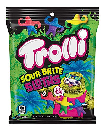 Sloth Shaped Candy Sours American Sweets by Trolli Gummy Fruity
