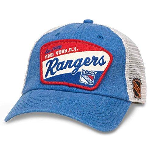 AMERICAN NEEDLE Ravenswood NHL Team Mesh Hat, New York Rangers, Ivory/Royal (43422A-NYR)