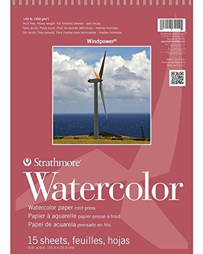 Strathmore 640-6-1 STR-640-6 15 Sheet Wind Power Watercolor Pad, 6 by 9', White