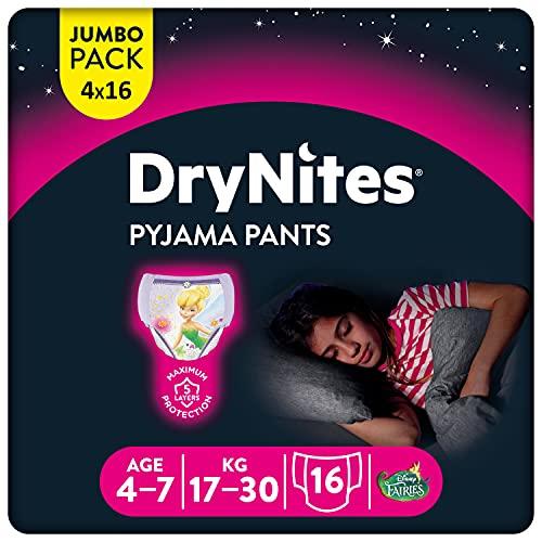 Huggies DryNites hochabsorbierende Nachtwindeln bei Bettnässen, für Mädchen 4-7 Jahre, 4 x 16 Windel-Pants (64 Stück), Monatspack