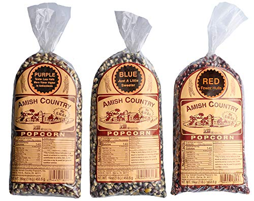 Amish Country Popcorn | 1lb Purple, 1lb Blue and 1lb Red Kernels | Old Fashioned, Non GMO, Gluten Free, Microwaveable and Kosher with Recipe Guide (1lb/ea Kernel, 3lbs Total)