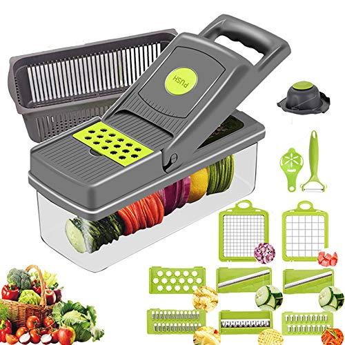 13 en 1 Mandolina Slicer Verduras Chopper Vegetal Comida Vegetal Slicer Food Chopper Dicer con Canasta de drenaje