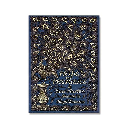 ThinkingPower Cuadro en Lienzo Póster de Portada de Libro de Orgullo y prejuicio, Primera edición de Jane Austen, Libro de Pavo Real, Cuadro de Pared, decoración artística 60x90cm