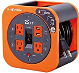 Link2Home Cord Reel 25 ft. Extension Cord 3 Power Outlets, 2 USB Ports, 2.4A Fast Charge – 16 AWG SJT Cable,...