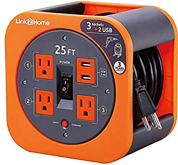 Link2Home Cord Reel 25 ft Extension Cord 3 Power Outlets 2 USB Ports 2.4A Fast Charge – 16 AWG SJT Cable