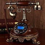 HYY-YY Teléfono antiguo europeo de madera maciza con conexión de red fija creativo teléfono privado clásico A retro