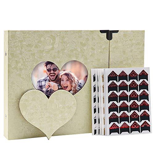 KSTEU Fotoalbum Scrapbook, DIY Vintage A4 Herzform Fotoalbem Mit Fotoecken, Hochzeit Gästebuch Hohlmuster Fotobuch Als Geschenk Tagebuch Geschenk (Beige)