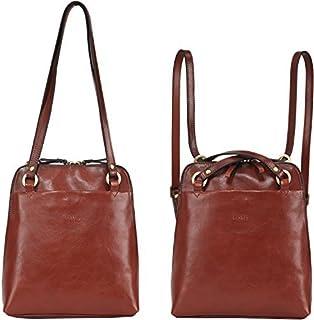 Banuce حقيبة ظهر جلدية صغيرة قابلة للتحويل للنساء أزياء حقائب الكتف السيدات محفظة السفر Daypack براون