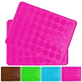 Belmalia 2X Macarons Backmatte aus Silikon für perfekte Makronen | Antihaft Silikonform mit Teigschaber | Rosa Pink