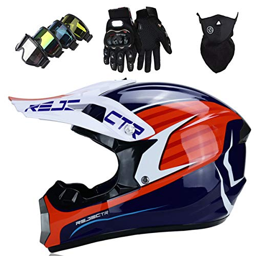 KIVEM Full Face Motocross Helmets Kids Adult Motorbike Dirt Bike Moped Off Road Crash Cross Downhill DH Helmets Set (Goggles Gloves Mask) - DOT/ECE Approved - Personality Cool,L