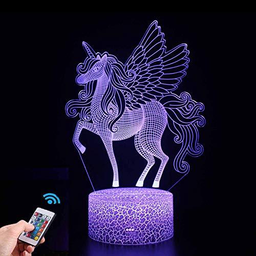 Preisvergleich Produktbild Einhorn Nachtlicht für Kinder,  Einhorn Spielzeug Nachtlampe für Mädchen,  3D Lampe 16 Farben Ändern mit Fernbedienung (Einhorn 1)