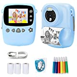 Instant Print Camera for Kids - Zero Ink Digital Camera 1080P FHD Video Recorder Portable Creative Print Cameras Toys Gifts for Age 3-12 Boys and Girls