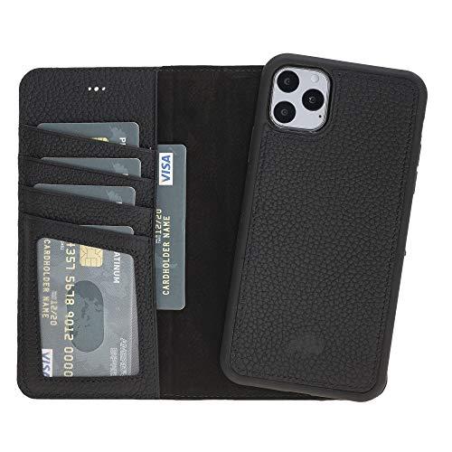"Burkley Case Carson Premium Genuine Leather Magnetic Detachable Snap-on Case Wallet with Flap Closure for Apple iPhone 11 Pro Max (6.5"") (Pebble Black)"