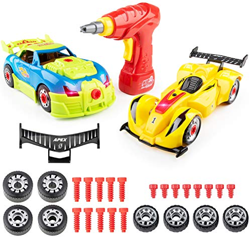 USA Toyz Kid Nitro Race Car Building Toys for Kids - 2 Pack Model Cars, Educational Toys Take Apart STEM Toys, Build Your Own Toy Cars with Toy Drill (52 Pieces)