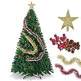 LucaSng SINCHER Albero di Natale Artificiale, 7 Piedi Ecologico, Albero di Natale Premium 1600 Rami, Pigne Gratuite, Fagioli Rossi, Stella Dell'albero di Natale, Nastro Rosso Dorato